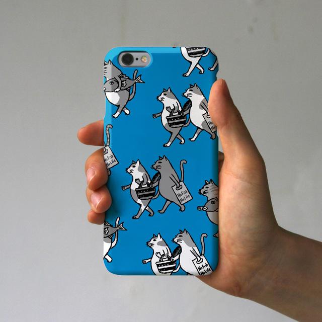 スマホケース  猫たち(ブルー×ブラッ...