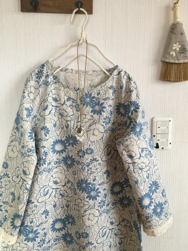 YUWA綿麻の袖レースシンプルワンピ