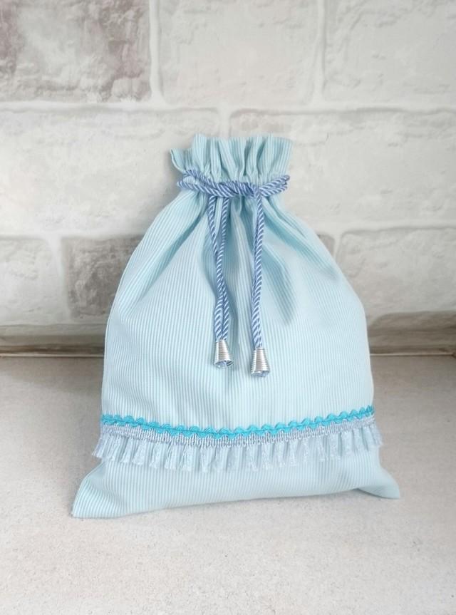 シャワーミント・ストライプ巾着袋