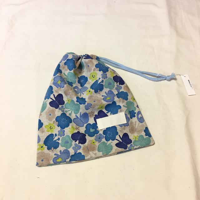 巾着袋H22×W20#お花とちょうちょblue