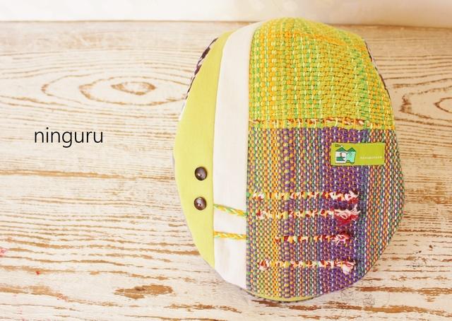 レモン色×パープルの手織りハンチング