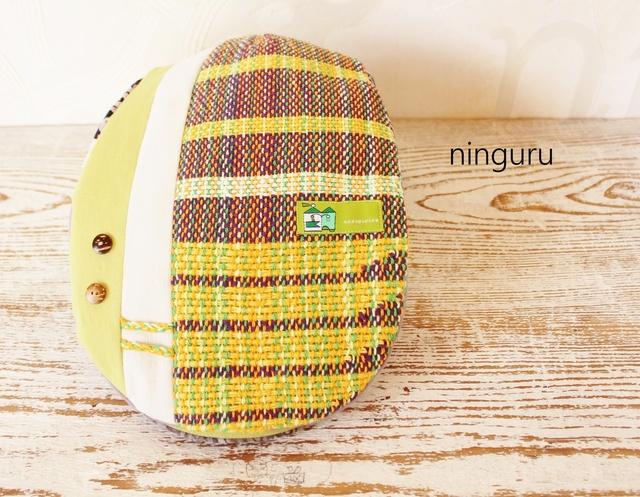 レモン色×パープルの手織りハンチング...