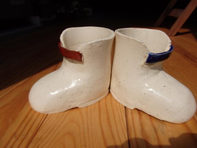 ブーツ型植木鉢(白)