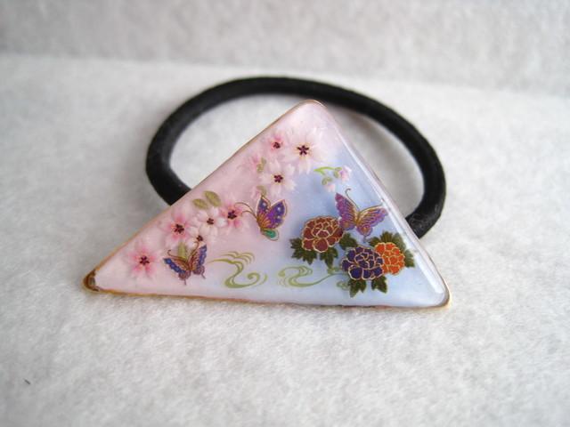 花と蝶々のヘアゴム