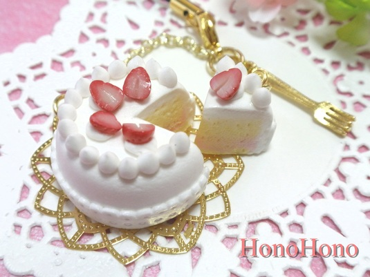 ま〜るい苺のケーキ☆ストラップ