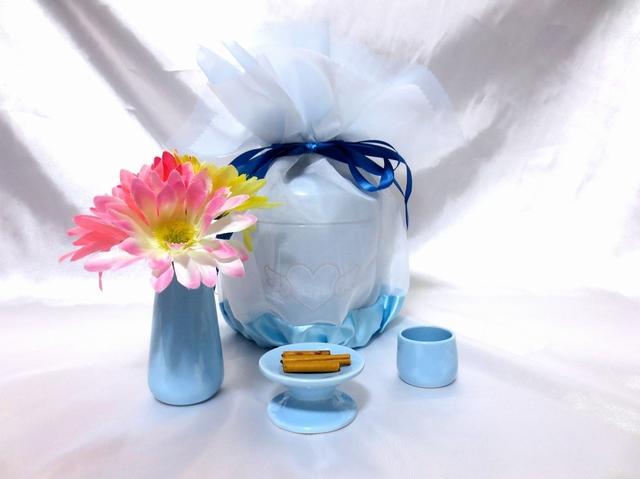 覆い袋(骨壷カバー) 骨壷セット 4寸(約15.1cm) エンジェルハート ブルー