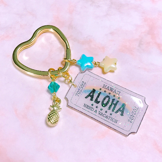 【NEW】チケットキーホルダー ハート Aloha