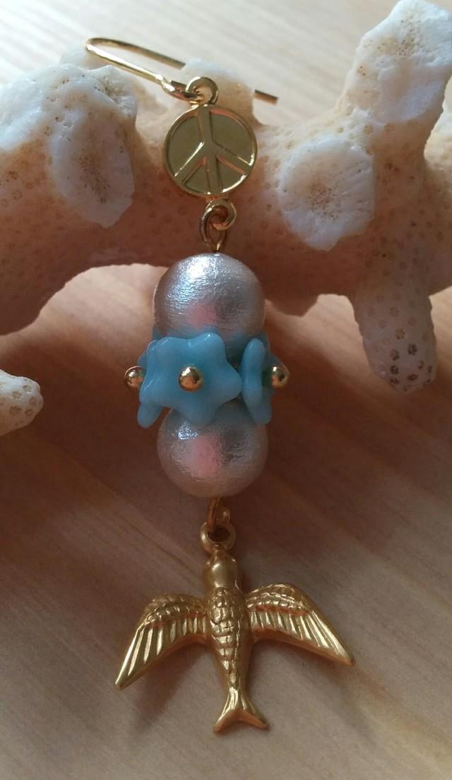 *片耳用*Peace Flower ピアス (L.Blue)