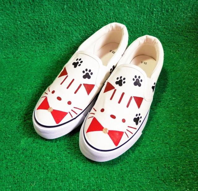 トラ猫の足あとスニーカー【アウトレット】
