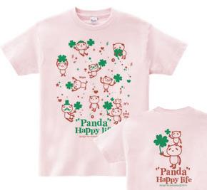 パンダとクローバー【両面】 150.160(女性M.L) Tシャツ【受注生産品】
