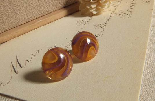 marble ピアス (OR×PU)