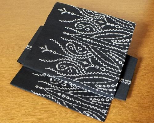 【sold out】 綿麻アシメトリー刺繍レース 作り帯