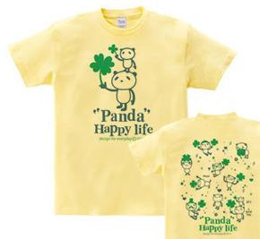 パンダとクローバー【両面】150.160(女性M.L) Tシャツ【受注生産品】