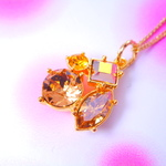 sparkle quad colors sunrise gold ! gold color chain スワロフスキーチャームネックレス