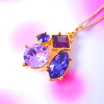 sparkle quad colors twilight purple ! gold color chain スワロフスキーチャームネックレス