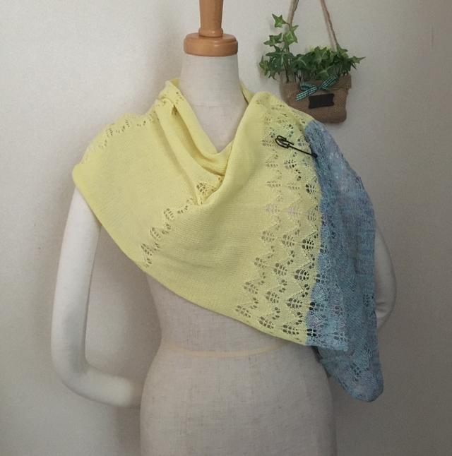 2色透かし編みスヌード 黄色&みずいろ