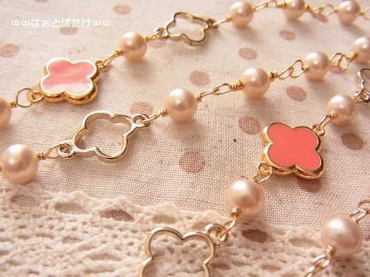 パールとお花パーツのロングネックレス|ピンク