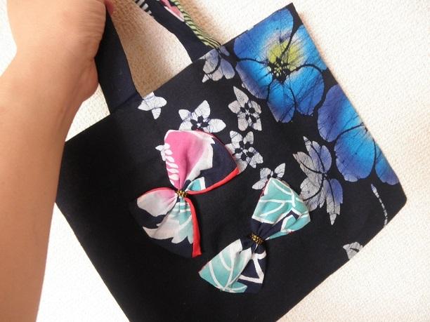 花とリボンの本藍トートバッグ