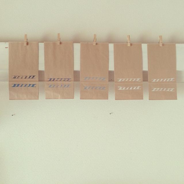 シマシマ模様のクラフトバッグ(S)
