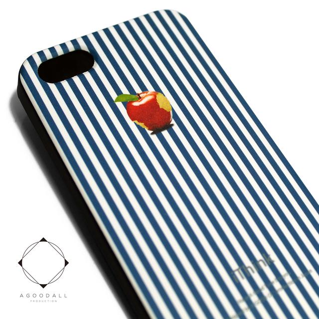 2ee2cd3370 iphone5/iphone5s用/iphoneSE 軽量レザーケースiphone5カバー(ブルーストライプ×ブラック)ロンドンストライプ 赤リンゴ
