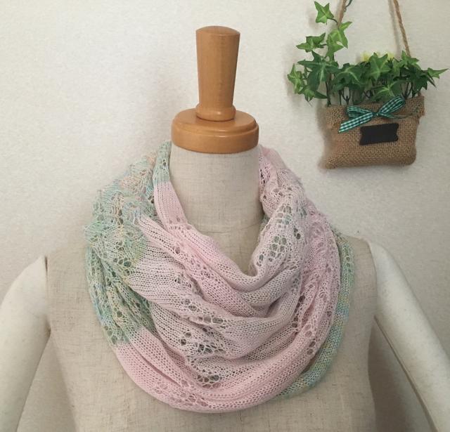 2色透かし編みスヌード 若草&ピンク