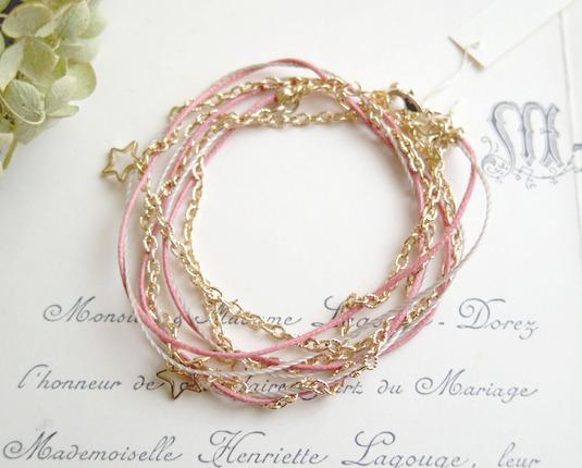 2WAYヒモとチェーンと星のブレス&ネックレス(ピンク)