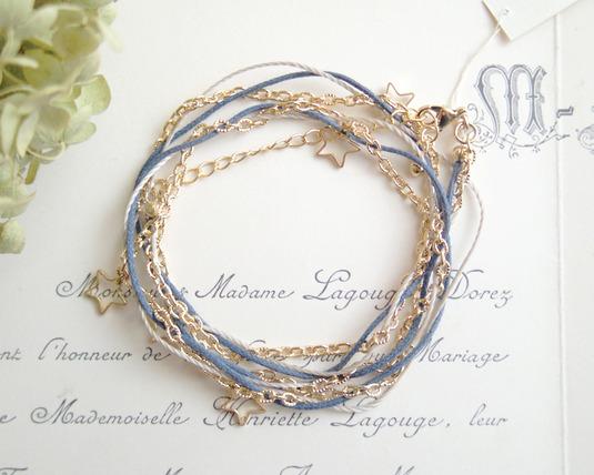 2WAYヒモとチェーンと星のブレス&ネックレス(紺)