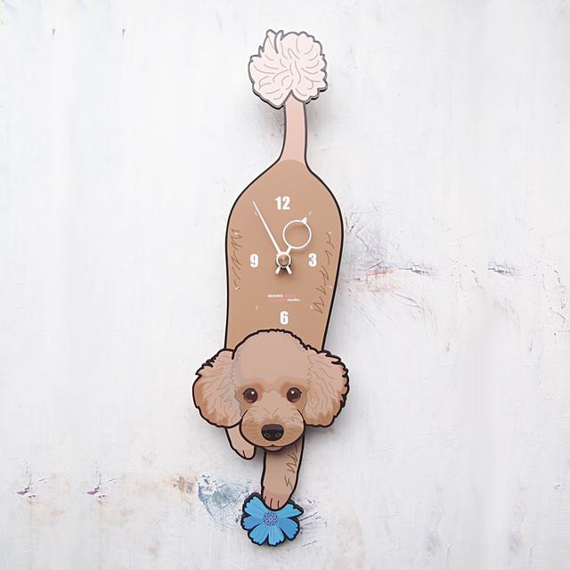 D-117 プードル(茶)-犬の振子時計