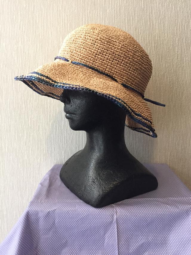 帽子A 縁色 かすり紺