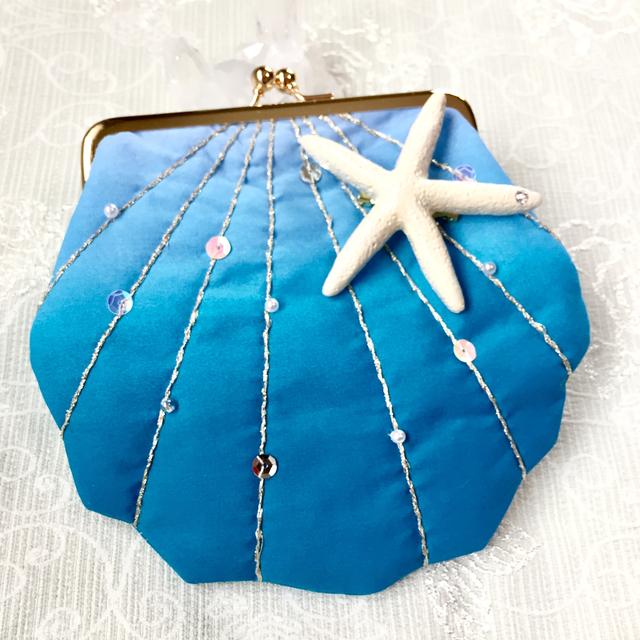 貝殻がま口ポーチ  ターコイズブルー