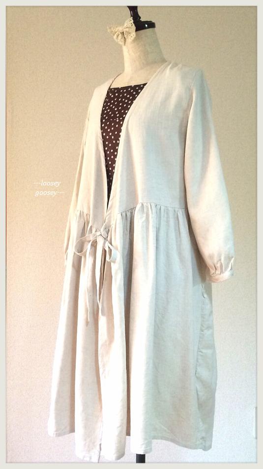 リボン結びの羽織りワンピース/リネン&コットン/ホワイトベージュ