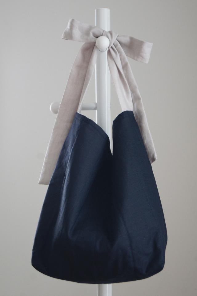 【再販】リネンキルティングリボンのバッグL(ネイビー×ライトグレー)