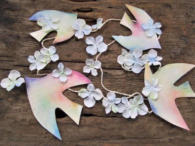 鳥と花のガーランド
