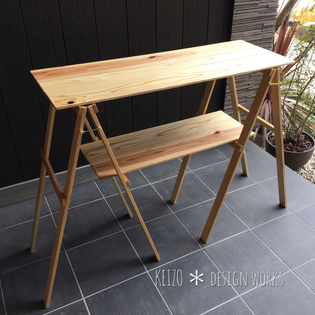 カウンターテーブル wood 2 キャンプ アウトドア ハンドメイド