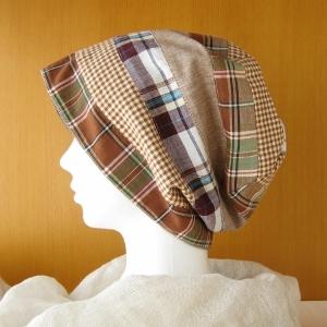 夏に涼しく下地にもなる ゆったりガーゼ帽子 パッチワーク/紺(CGL-003-P)