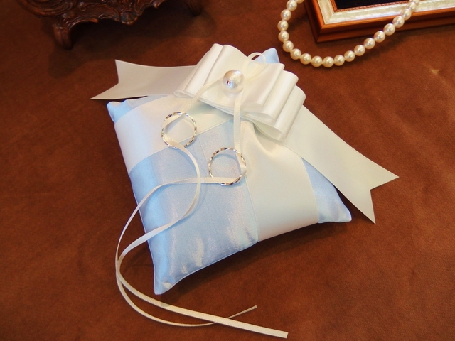 【手作りキット】シャンタンとリボンのリングピロー(ブルー)