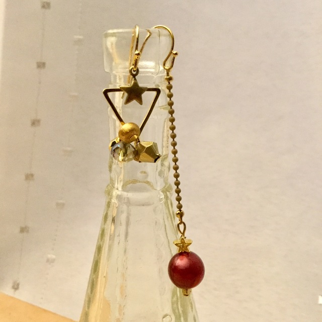 Deep Red Asymmetry Earrings