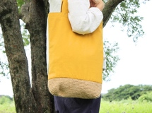 linen basket bag / chrome yellow ▷