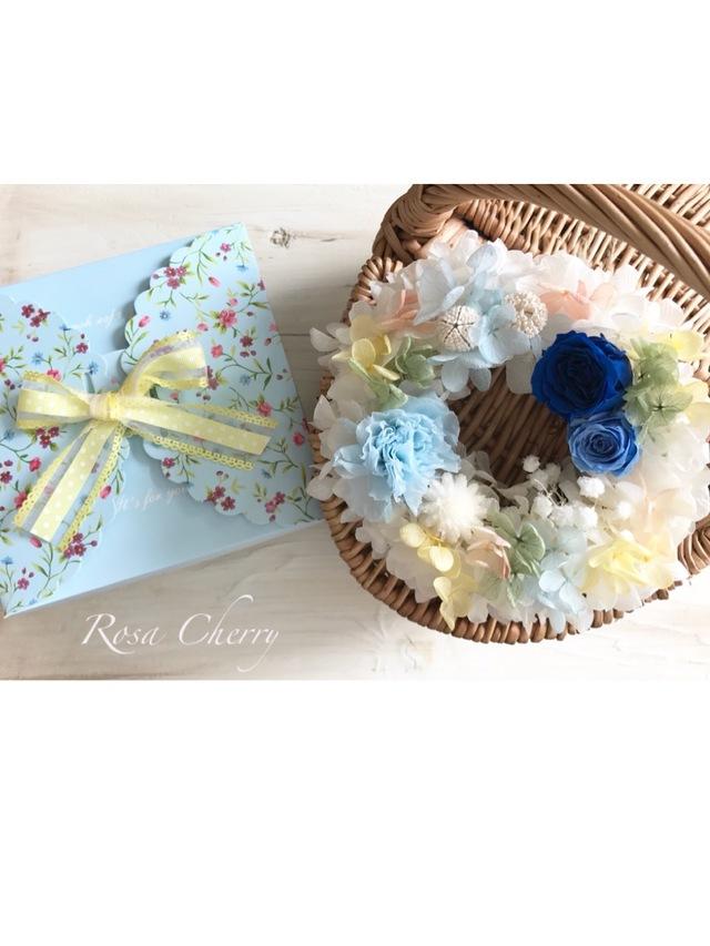 お花BOXのミニリース☆ブルー