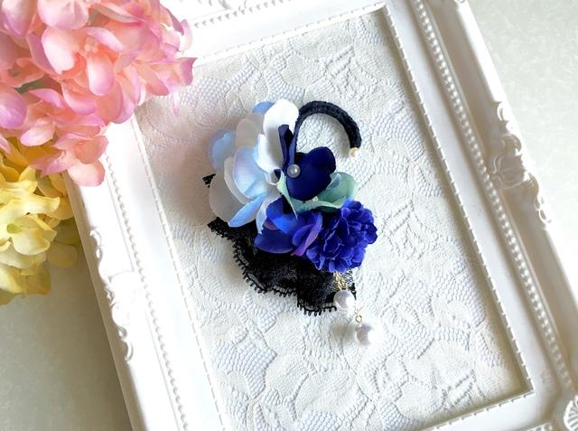 お花のブルーブーケイヤーフック