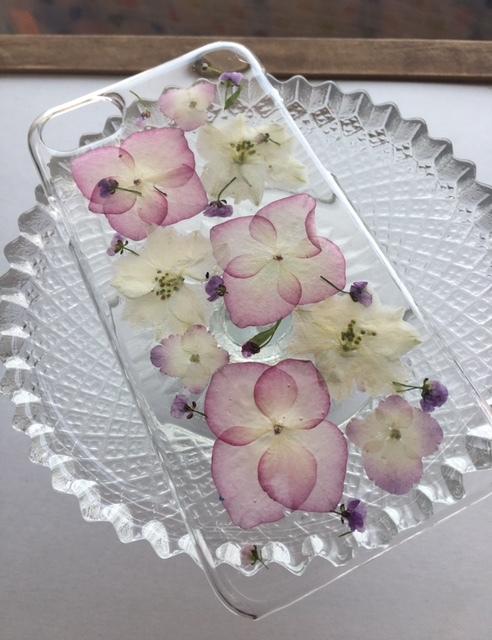 iphone7/6/6S  紫陽花の押し花スマホケース