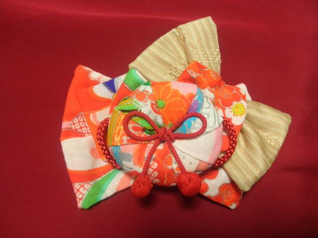 友禅毬・友禅&沖縄伝統的織物バレッタ