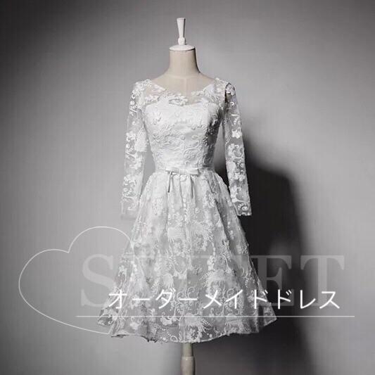 刺繍リボンパーティードレス☆ホワイト☆色変更可能