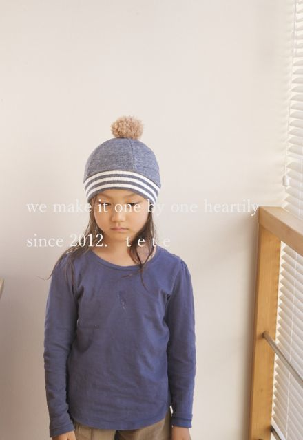 《再販》【Mサイズ】kidsニットベレー帽(杢ネイビー×ボーダー)