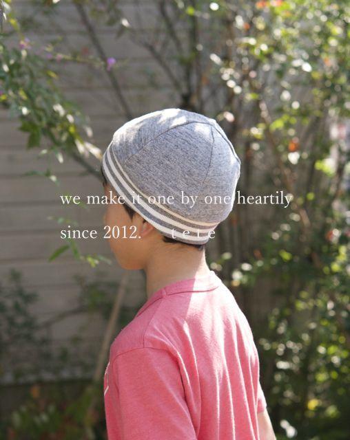 【Lサイズ】kidsニットベレー帽(杢グレー×ボーダー)ポンポンなし