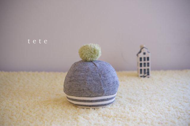 《再販》【Sサイズ】babyニットベレー帽(杢グレー×ボーダー)