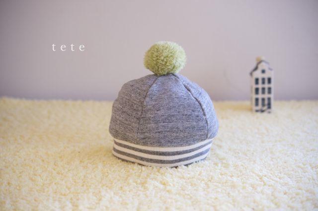 【Mサイズ】kidsニットベレー帽(杢グレー×ボーダー)