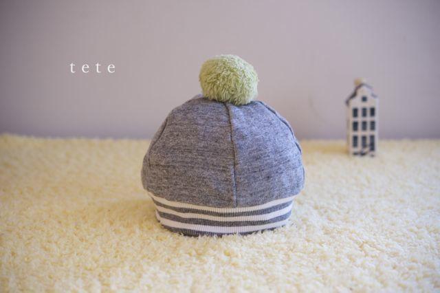《再販》【Lサイズ】kidsニットベレー帽(杢グレー×ボーダー)