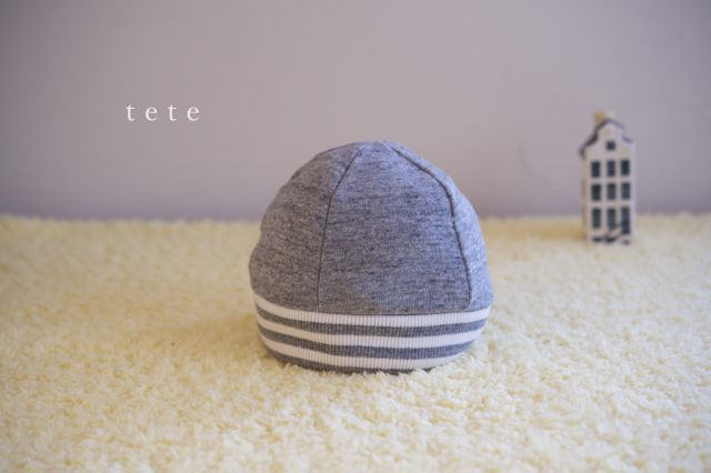 【Mサイズ】kidsニットベレー帽(杢グレー×ボーダー)ポンポンなし