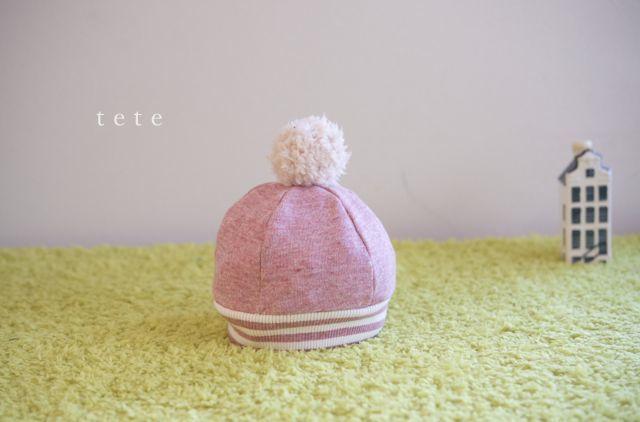 《再販》【Sサイズ】babyニットベレー帽(杢ピンク×ボーダー)